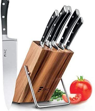 Fac Set de 5 Couteaux Professionnels avec Lame en Acier Inoxydable et Carbone : Chef, Pain, Viande, Office et Cuisine | Kit Chef avec Support en Bois | Manche Ergonomique | Moderne et élégant