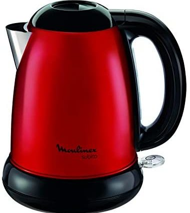 MOULINEX Bouilloire SUBITO rouge 1,7L Inox Bouilloire sans fil Résistance cachée Niveau d'eau visibleBY540510
