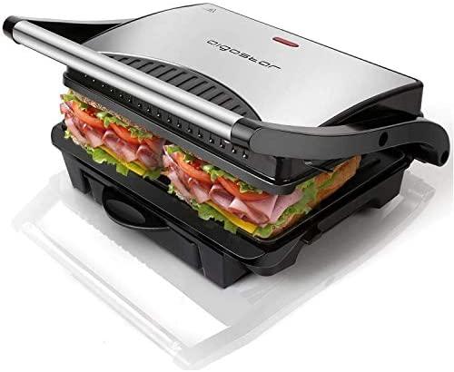 Aigostar Hett 30HHJ - Grill multifonction, plancha, presse à paninis, appareil à sandwichs. 1000W, plaques anti-adhésives, poignée froide. Sans BPA. Couleur argent et noir. Design exclusif.