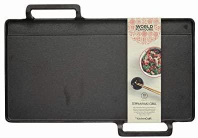 KitchenCraft World of Flavours Japanese Teppanyaki Grill Plate, Cast Iron, Black, 42.5 x 29 x 4.5 cm