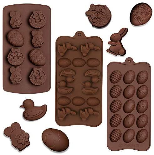 SUNSK Moulle en silicone oeufs de pâques Lapin moulle à chocolat moule à pâtisserie pour gâteau gelée pain pudding muffins savon easter egg mould 3 pièces